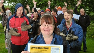Members of the walking group get ready for their charity trek