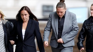 Della Woods (second left) and Hayley Sulley (second right) arrive at Liverpool Crown Court where they have been jailed for 12 months.