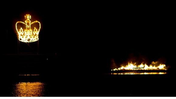 A fiery crown in the night sky at Holme Pierrepoint in Nottingham