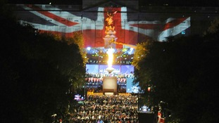 The moment when The Queen lit her Beacon at Buckingham Palace