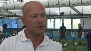Alan Shearer had a kick-about in the muggy conditions at the temporary football arena.