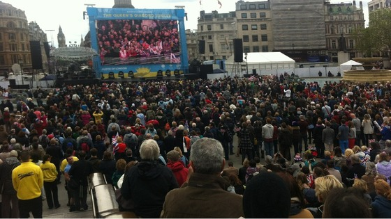 Crowds watch the ITV big screen in Trafalgar Square.