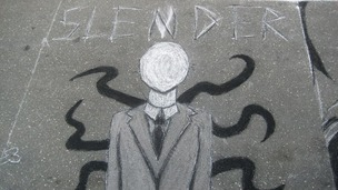Slender Man - who is often depicted as a tall figure in a dark suit bearing tentacles.