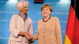 Christine Lagarde, left, with German Chancellor Angela Merkel.