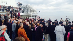 Hundreds gather for the mid-sea commemorative ceremony.
