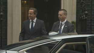 Prime Minister David Cameron leaves Number 10 this morning.