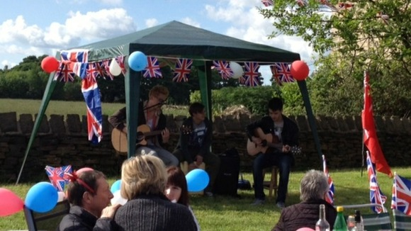 Live music at Kiln Field, Bromely Cross, Bolton enjoy the sun at a field party