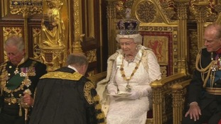 The Queen in the House of Lords for the State Opening of Parliament.