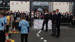 The Duke watches children take part in the SkillForce challenge