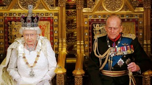 Queen Elizabeth II and the Duke of Edinburgh at the House of Lords.