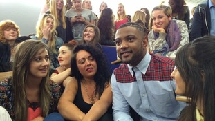 JLS star JB Gill meets students at Sheffield College.