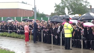 Prince William chatting to Goole High School pupils