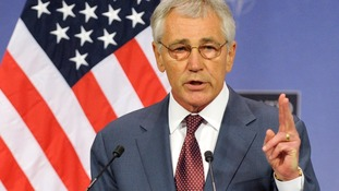 US Secretary of Defence Chuck Hagel speaking at a Nato conference in Brussels today.