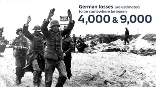 Two German soldiers raise their hands after being captured.
