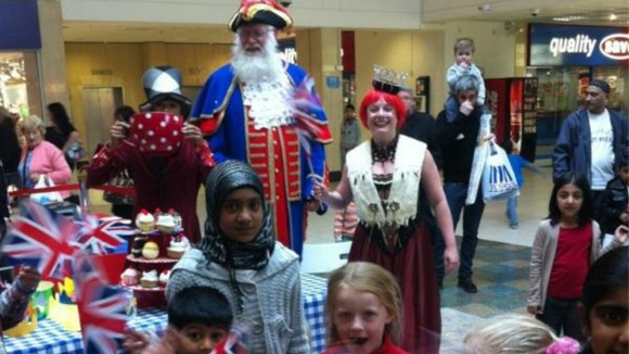 A giant tea party in Stretford Mall