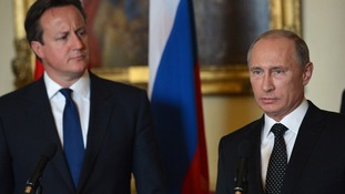 David Cameron and Vladimir Putin met in London, June 2013. Putin will not attend tomorrow's G7 summit.