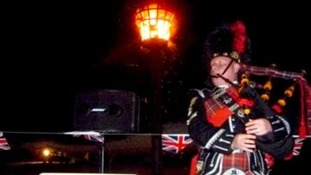 Bagpipes jubilee beacon - Bill Furness - the Vice Chair of Birchington Parish Council