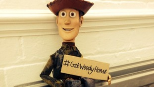 The Woody figure, which is missing an arm, has the name 'Liam' etched on his right foot.