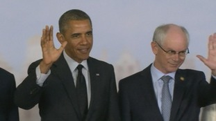 US President Barack Obama and European Council President Herman Van Rompuy waves to the cameras.