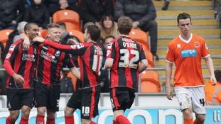Lewis Grabban celebrates scoring against Blackpool last season.