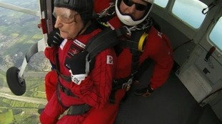 Watch the incredible moment a D-Day veteran parachutes into Normandy again 70 years on