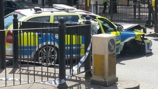 Six injured in 'horrific' police car crash in east london