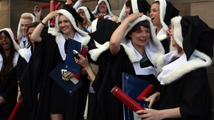 Edinburgh University students pictured graduating.