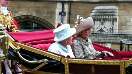 The Queen with The Duchess of Cornwall making their way to Buckingham Palace