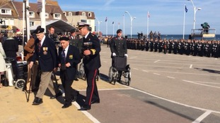 Veterans in Arromanches this morning.
