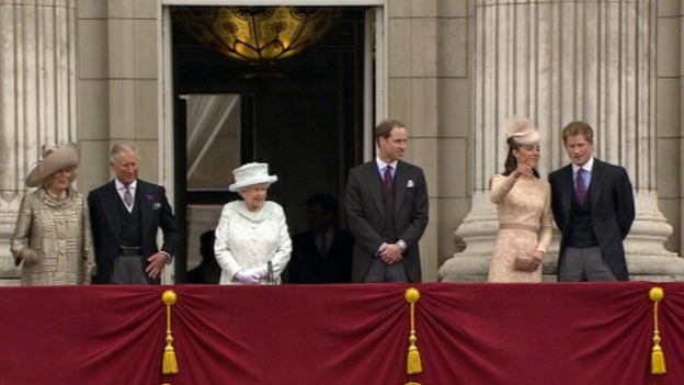 The Queen with senior royals on the balcony