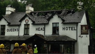 Queen's Head Hotel, Troutbeck after last night's fire.