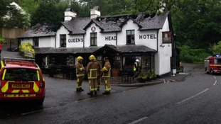 Fire crews are still the Queen's Head Hotel, Troutbeck as investigations get underway.