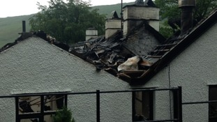 The roof of the building has been badly damaged.