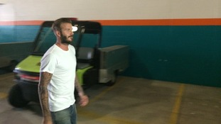 David Beckham was pictured arriving for the game at Miami.