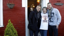 Christopher Maloney with Gary Barlow and his Nanny Pat in Norris Green, Liverpool.