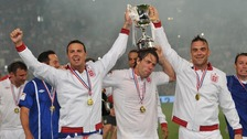 Paddy McGuinnes, John Bishop and Robbie Williams celebrate after 2012's Soccer Aid.