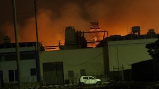 Fire lights up the night sky at Karachi International airport