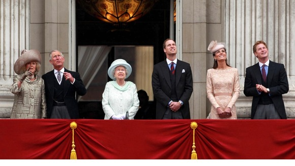Prince CHarles, the Duchess of Cornwall, The Queen, the Duke and Duchess of Cambridge and Prince Harry watching the RAF flypast