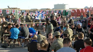 A 'Jubilee Big Lunch' was organised in Camp Bastion where British troops are based