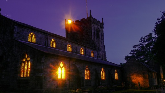 The beacon burning at St Marys Church, Penwortham, Preston