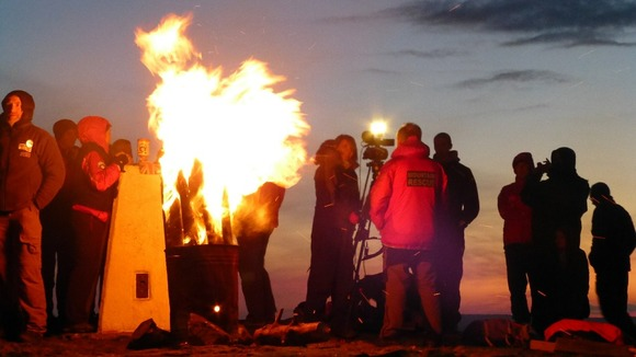 Pendle Hill Beacon as it was lit by the mountain rescue team last night