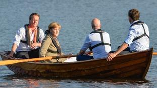 David Cameron, Angela Merkel, Swedish Prime Minister Fredrik Reinfeldt and Dutch Prime Minister Mark Rutte  in Harpsund, South of Stockholm.