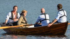 David Cameron, Angela Merkel, Swedish Prime Minister Fredrik Reinfeldt and Dutch Prime Minister Mark Rutte  in Harpsund, South of Stockholm.