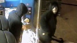 Angle grinder gang cut through ticket machines