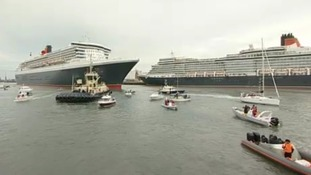 Three Cunard Queens arrive
