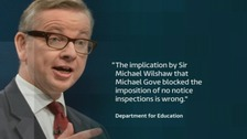 Graphic with Michael Gove.