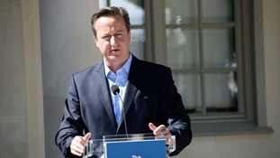 Prime Minister David Cameron pictured in Sweden earlier today.