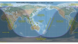 World visibility map for the transit of Venus