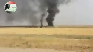 Footage purportedly shows large fires burning in the Iraqi oil refinery town of Baiji.