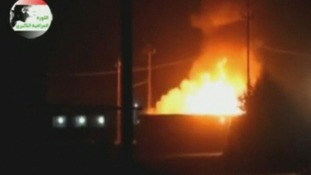 Large fires purported to be in the Iraqi oil refinery town of Baiji.